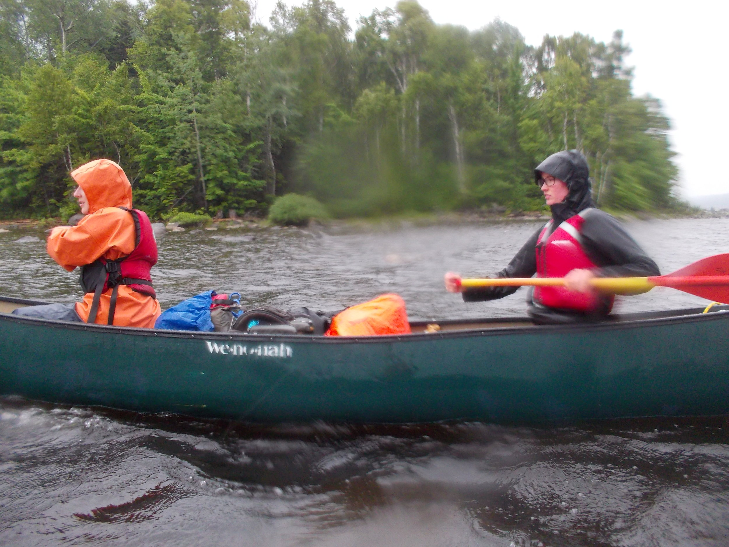 Paddling with Robbin on course last summer
