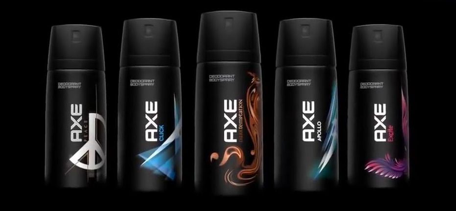 Axe Body Spray - The all-purpose fragrance doubling as a psychological defense against the world. Scents range from Tsunami to Dark Temptation.