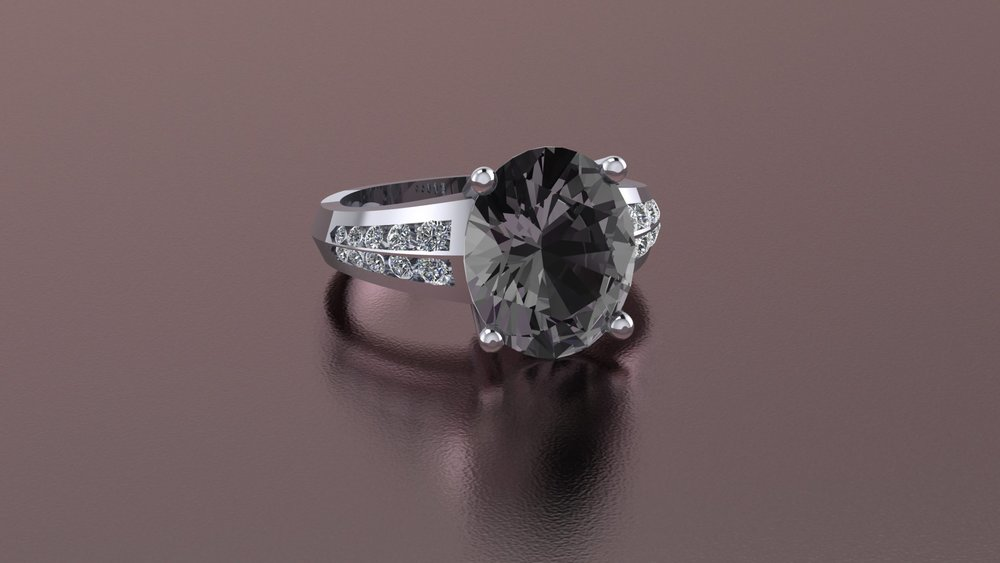 Platinum gray spinel ring with diamond accents