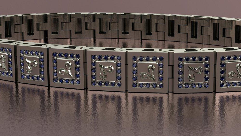 18k white gold art nouveau inspired sapphire bracelet