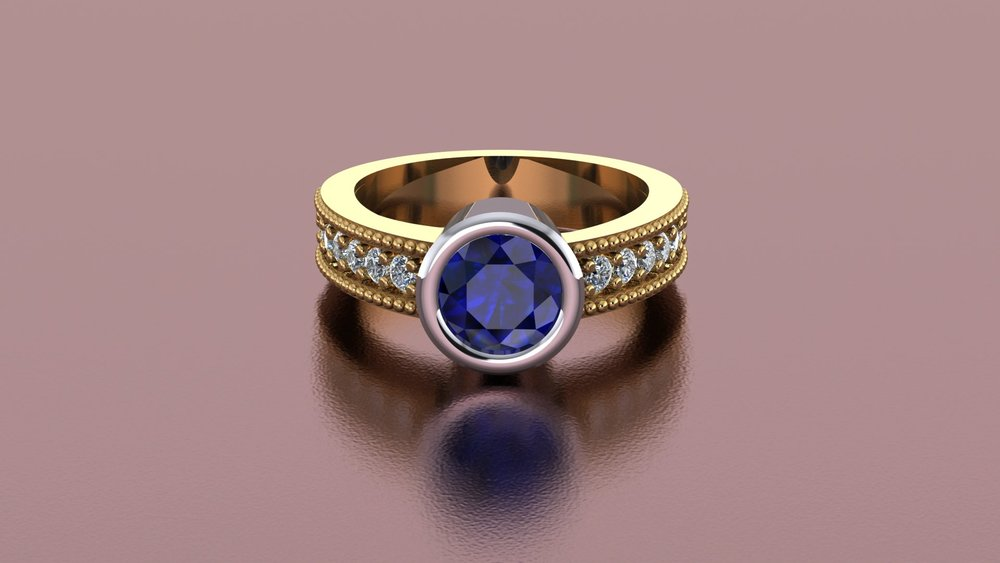 18k and platinum sapphire bezel ring with diamond accents