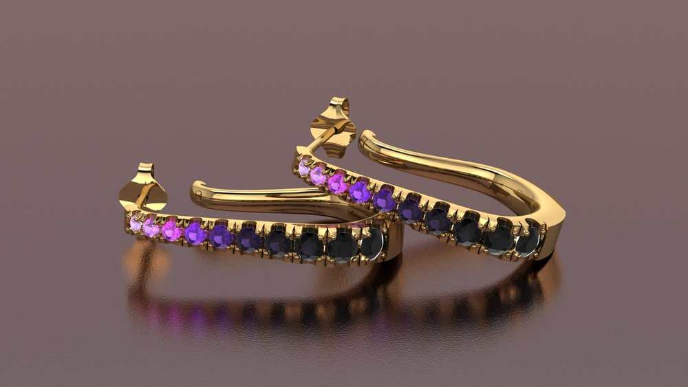18k yellow gold purple gradiant j-hoop earrings