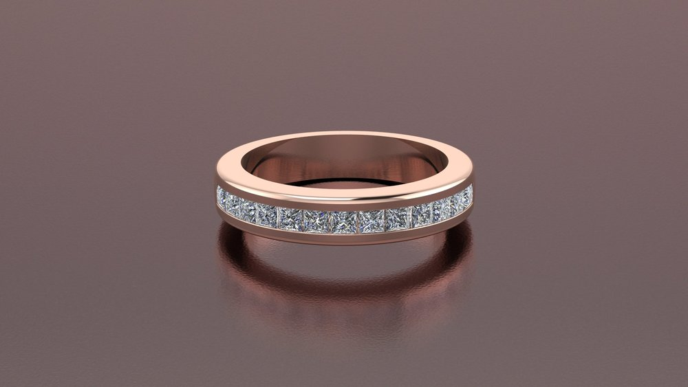 18k rose gold princess cut diamond channel band