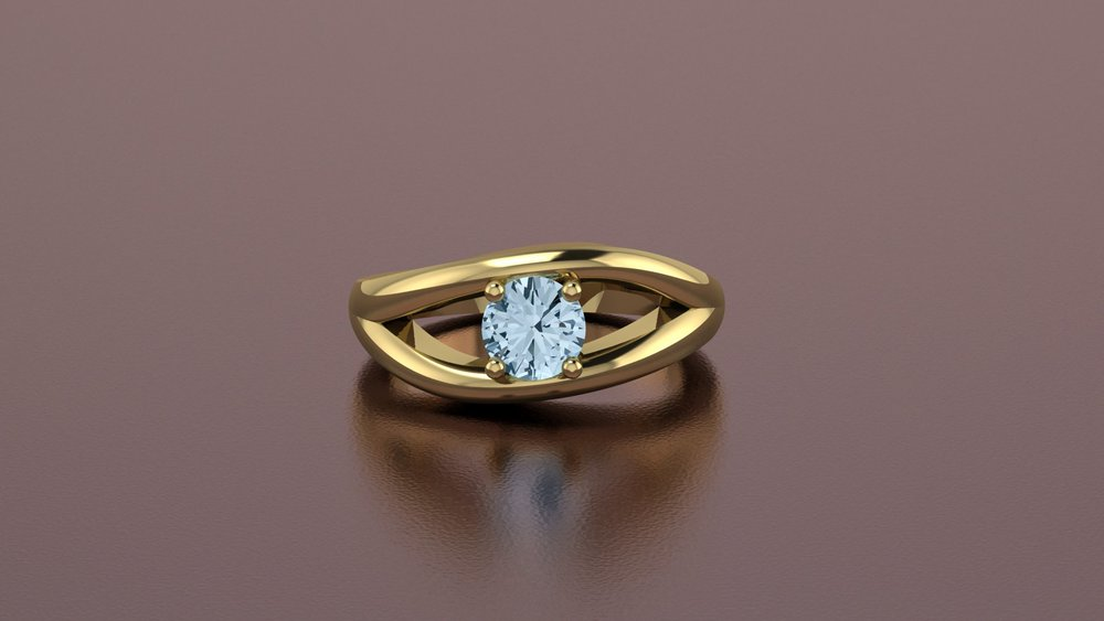 18k yellow gold fashion ring with aquamarine