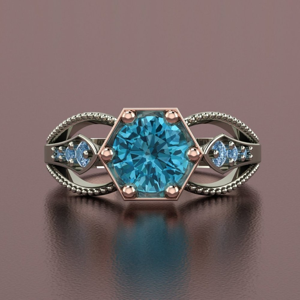 14k white and rose gold blue zircon ring with blue diamond accents