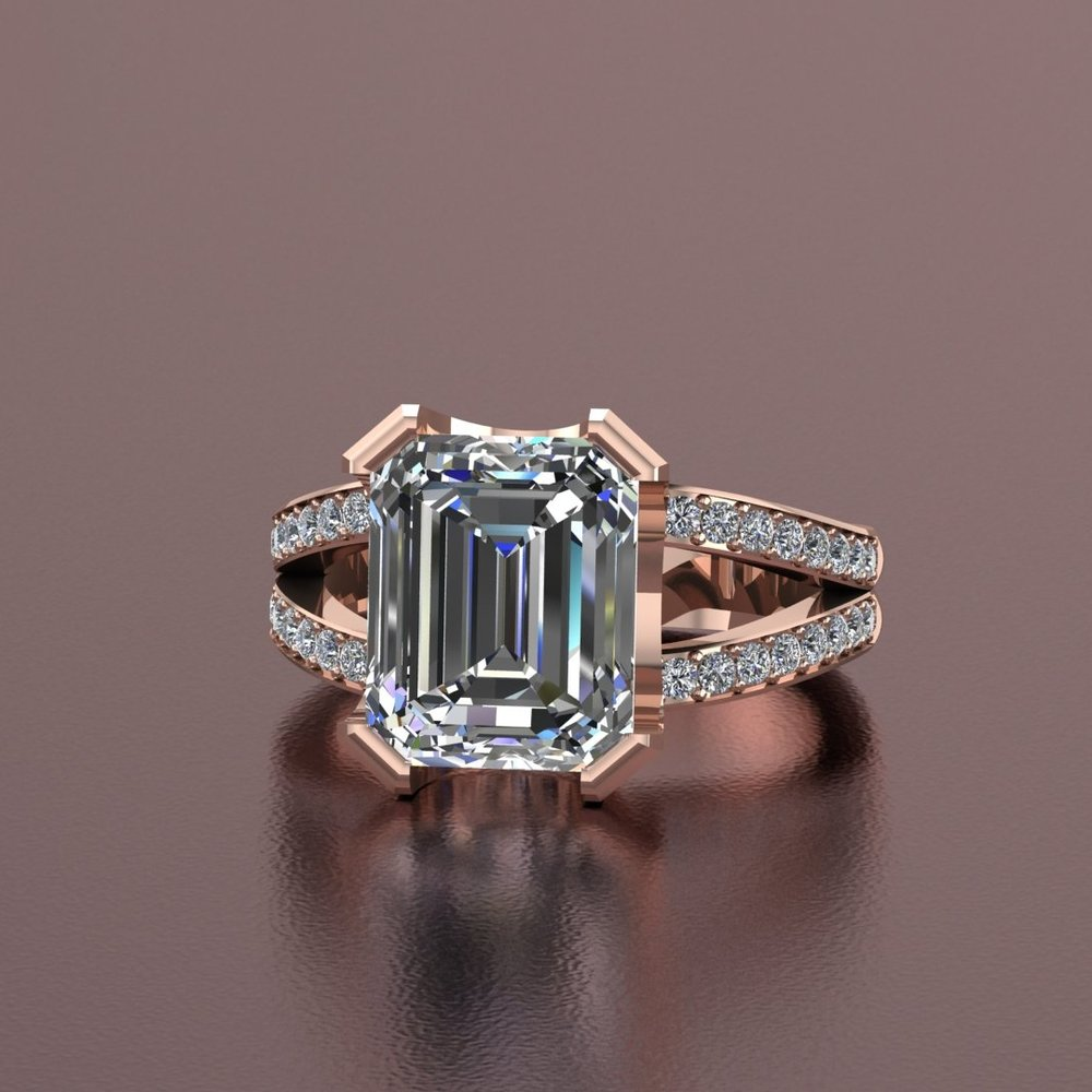 14k rose gold emerald cut split shank diamond ring with round brilliant accent diamonds