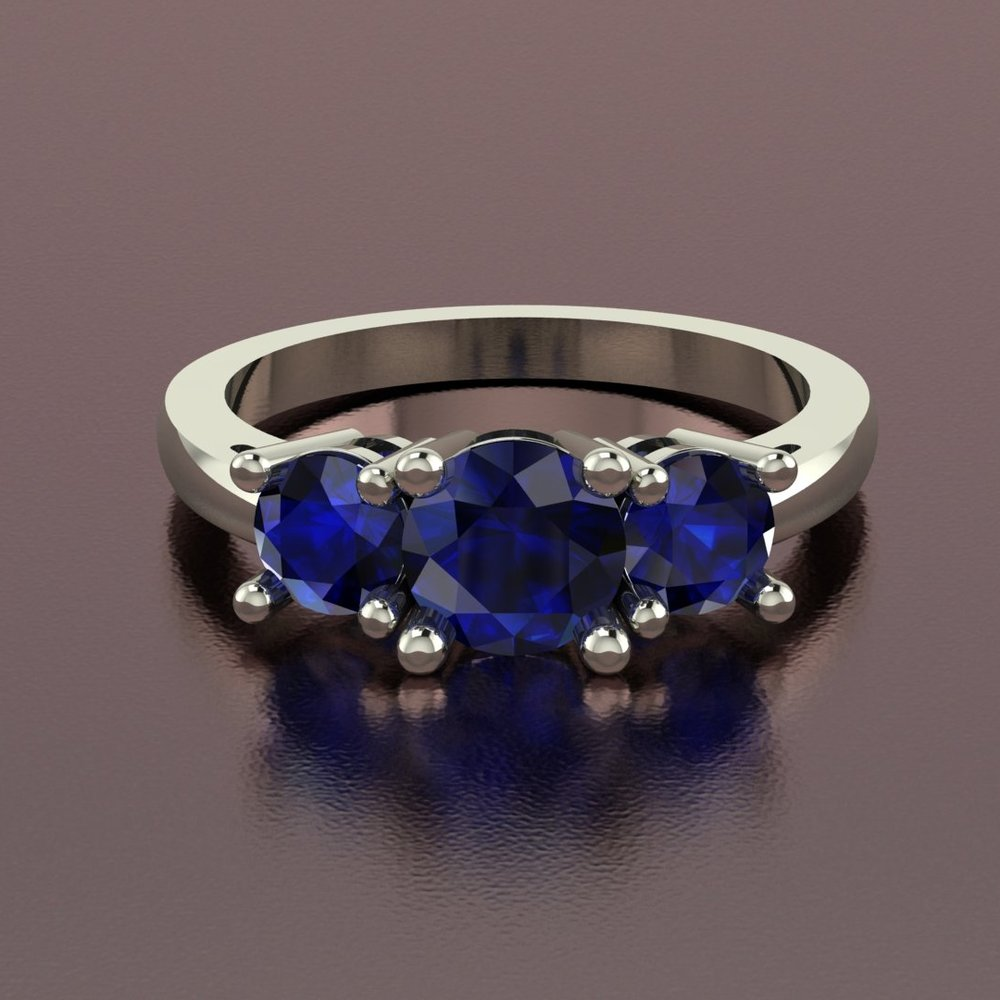 18k white gold blue sapphire 3-stone ring