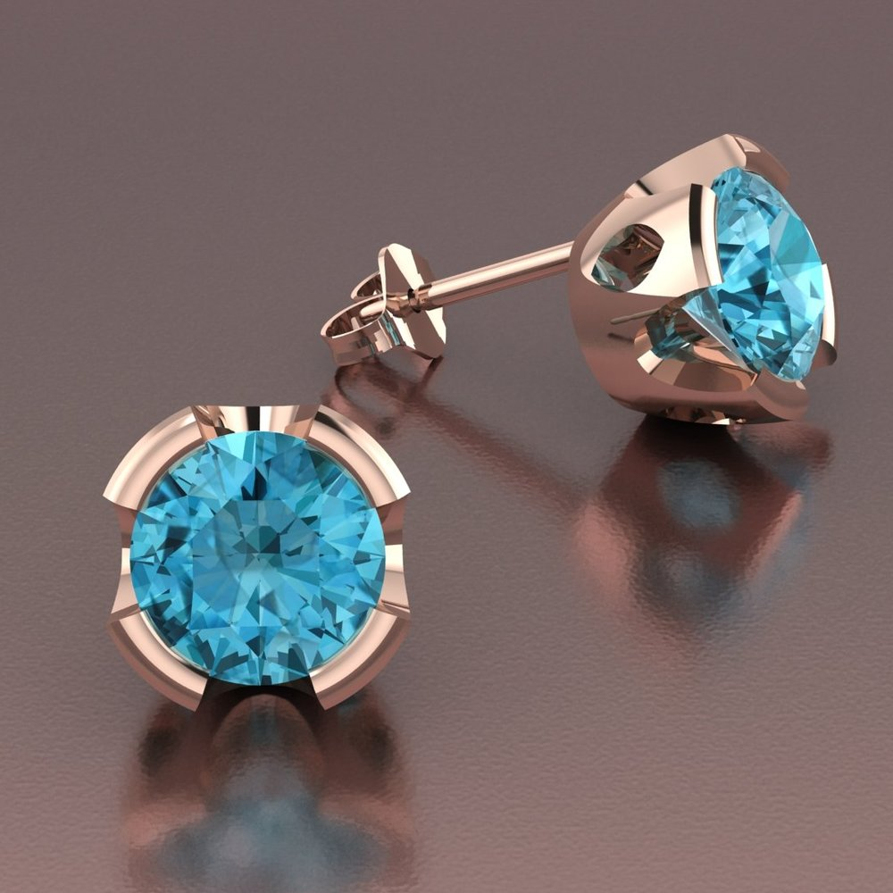14k rose gold scalloped cutout blue zircon stud earrings