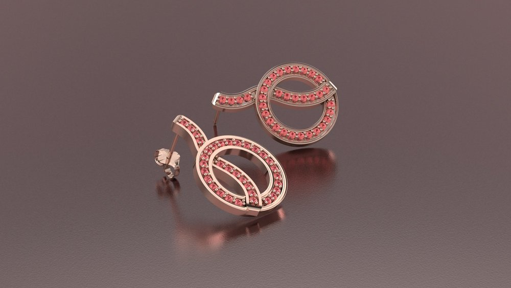 14k rose gold fashion earrings with padparascha sapphires