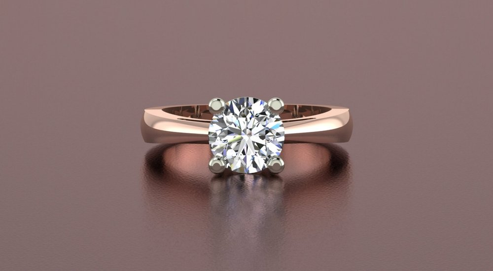 14k rose gold tapered shank diamond solitaire