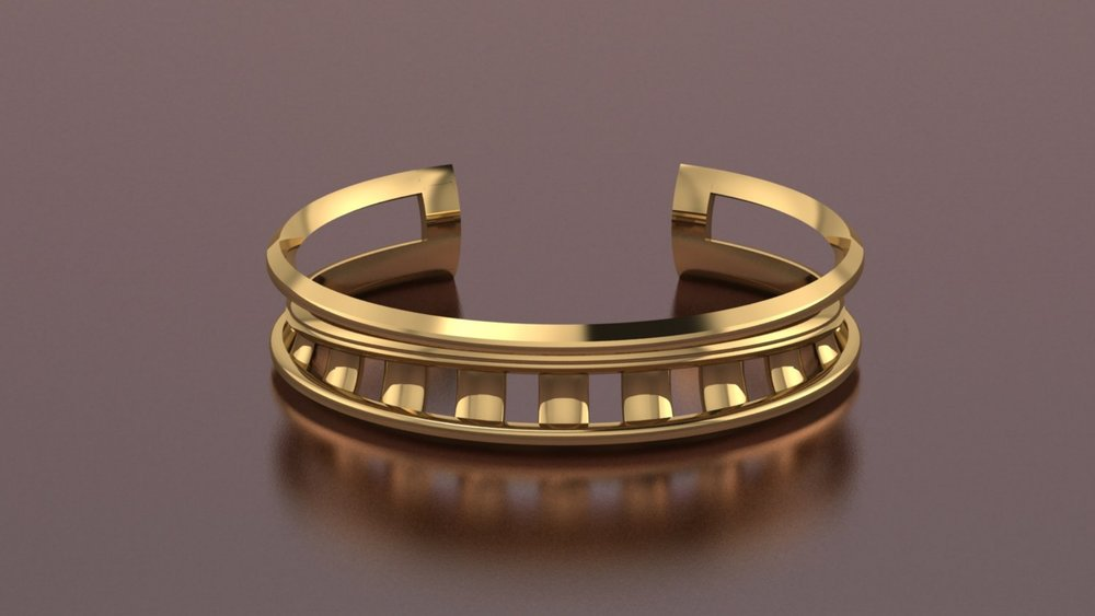 18k yellow gold negative space cuff bracelet