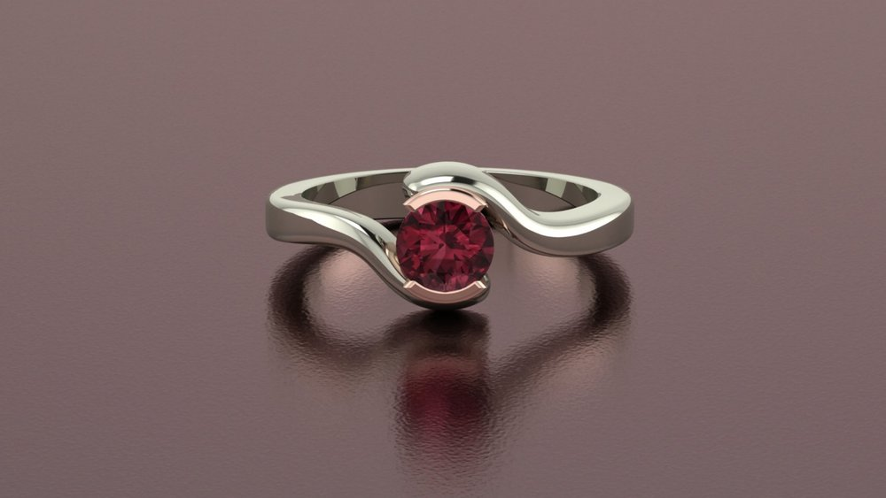 14k white and rose gold rhodolite tourmaline half bezel bypass ring