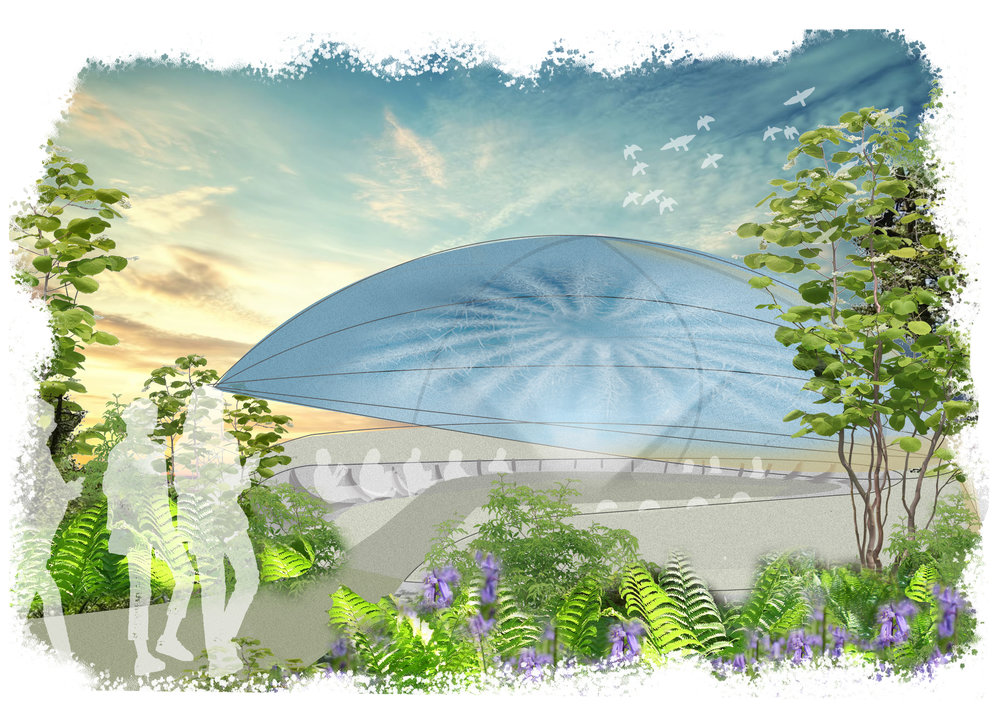 A concept image for an external amphitheater using a lightweight inflatable structure.