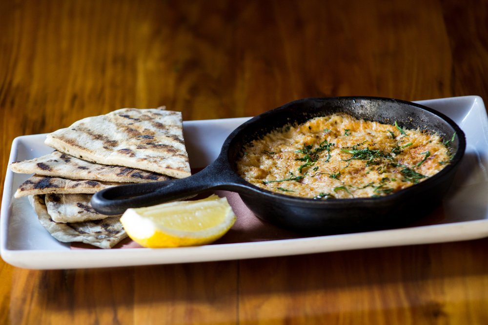 Warm Crab Dip  Vermont cheddar, cream cheese, Old Bay, lemon, grilled flatbread