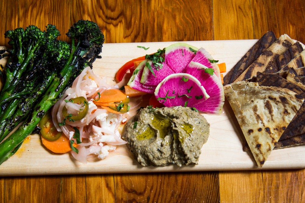 Veggie Board  grilled broccolini, lemon vinaigrette | pickled + fresh vegetables | baba ghanoush | flatbread