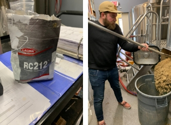 The Burgundy yeast goes into mash tun (L); James removes the spent grain, which goes to lucky livestock (R).