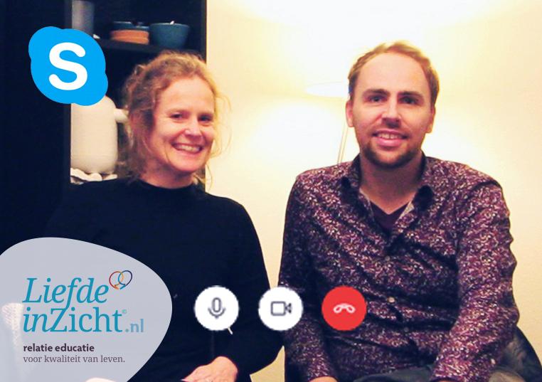 SkypeSessie - RELATIE-ADVIES IN HUISdirect persoonlijke verheldering€75 | 45 minutenWil jij direct met ons naar jou relatievraag kijken? Maar heb je geen mogelijkheid om naar onze praktijk te komen? Dan kun je bij ons een SkypeSessie boeken. Je krijgt de volle aandacht van ons beiden terwijl je gewoon thuis kunt blijven. Er zijn geen lange wachttijden, meestal heb je binnen een week een afspraak. De sessie kan overdag maar ook in de avonduren gepland worden. In de SkypeSessie kijken we samen wat er precies speelt. Vanuit onze expertise verhelderen we jouw persoonlijke situatie, geven we meteen inzicht en advies wat je zelf kunt doen (aanwijzingen, oefeningen of leestips) en welke begeleidingsvorm je verder brengt, in onze praktijk of elders.