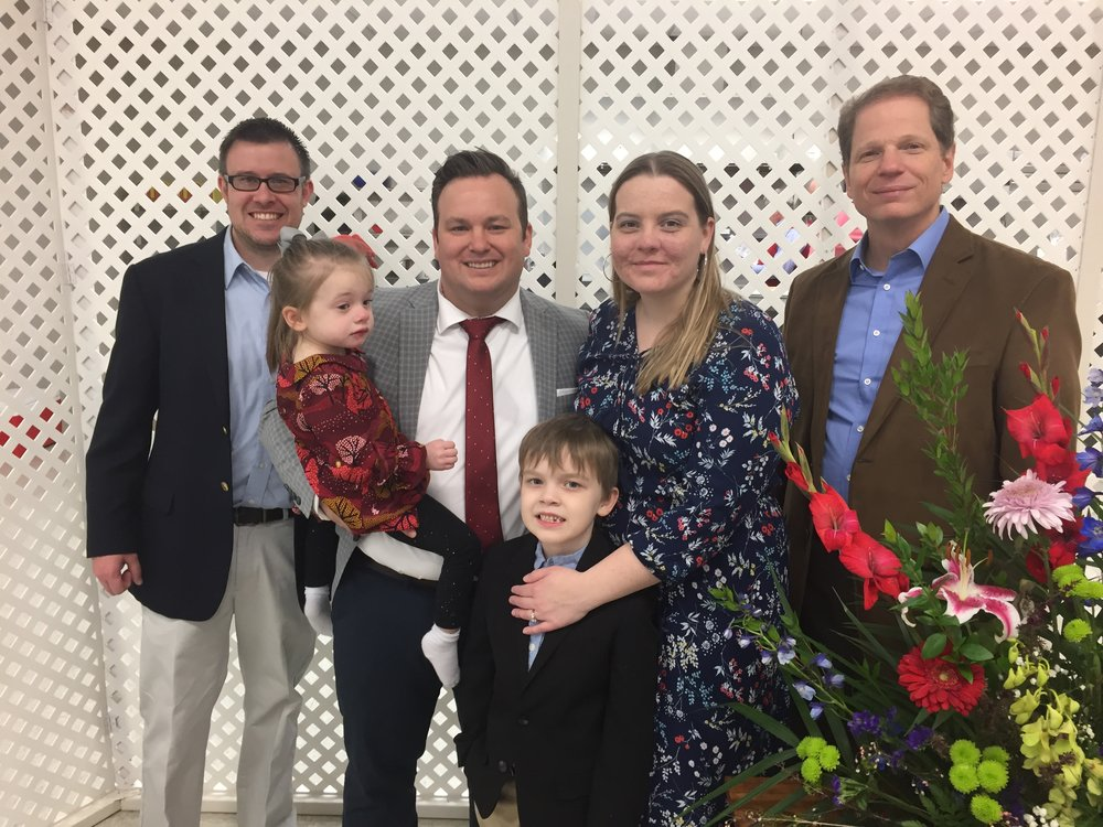 Pictured, L-R: Josh Gee, Rev. Chris Garner & family of Gillespie Avenue Baptist Church, and Ashton Thompson.
