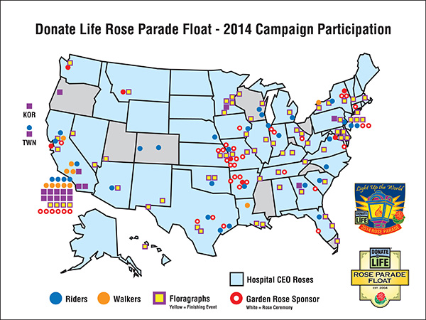 Each year, the Donate Life Rose Parade Float campaign mobilizes scores of organizations that leveraged their sponsorship of float participants to generate local media coverage and energize their constituents.