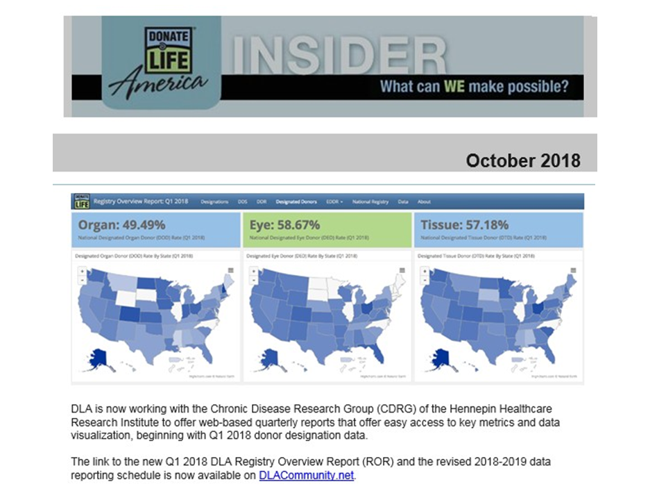 As of 2018, Donate Life America offered quarterly data reports prepared by the Hennepin Healthcare Research Institute.