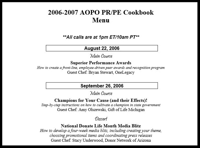 "The program was launched with a yearlong ""Menu"" of topics, with a featured ""Main Course."" If time allowed, a short-subject ""Dessert"" was offered as well."