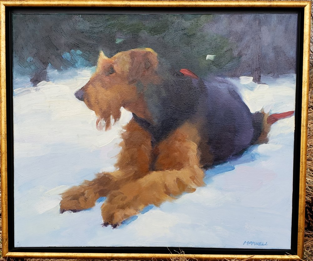 Mary Powell Original Oil Painting of an Airedale