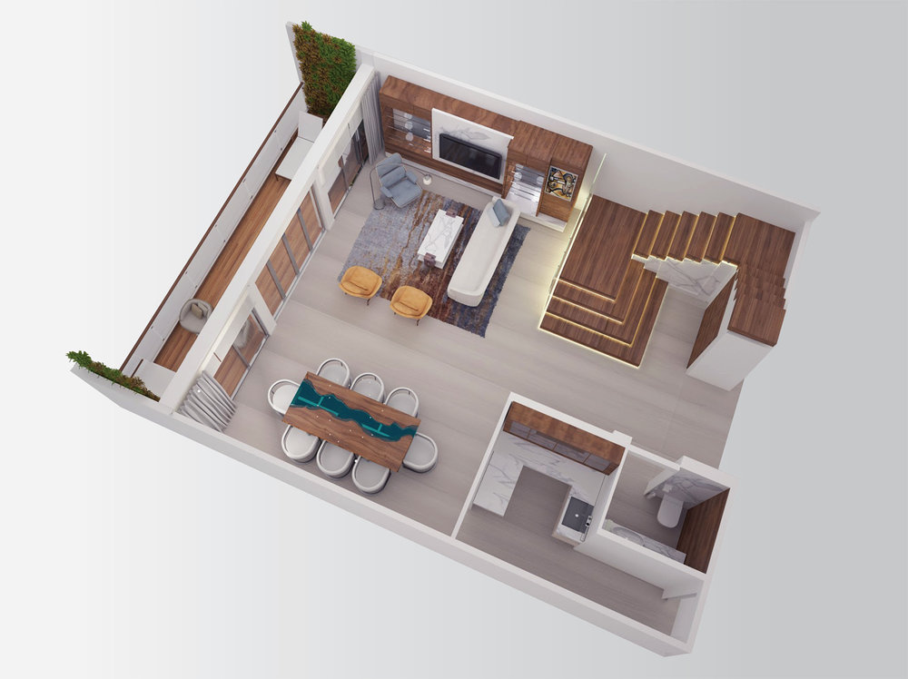 Lower Level - Two Bedroom Split-Level Residence