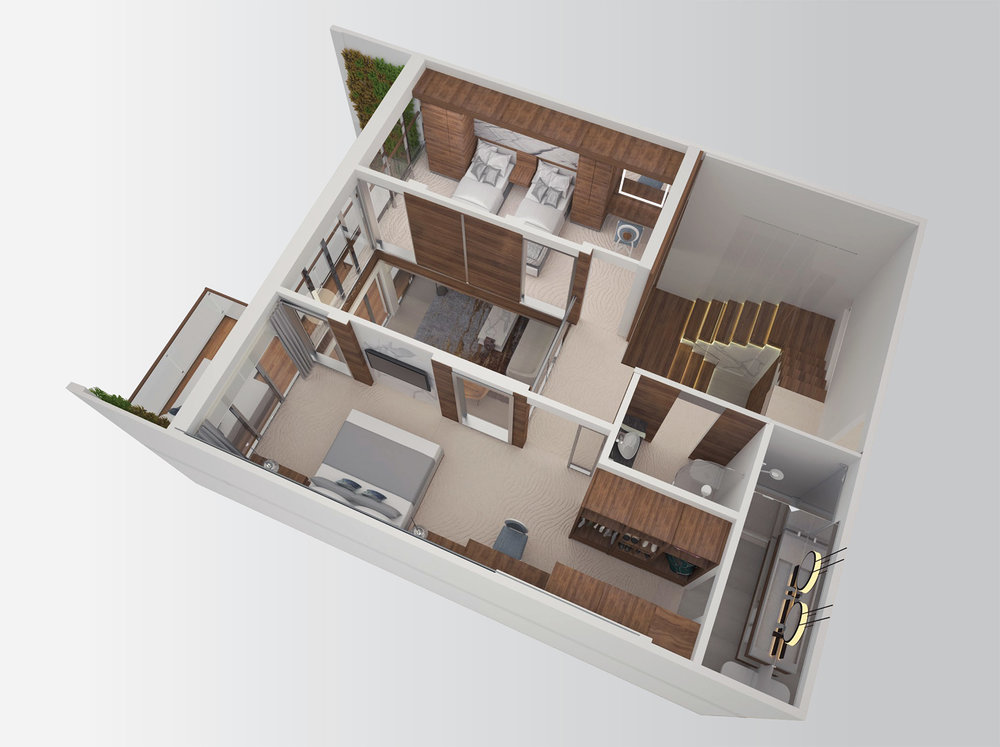 Upper Level - Two Bedroom Split-Level Residence