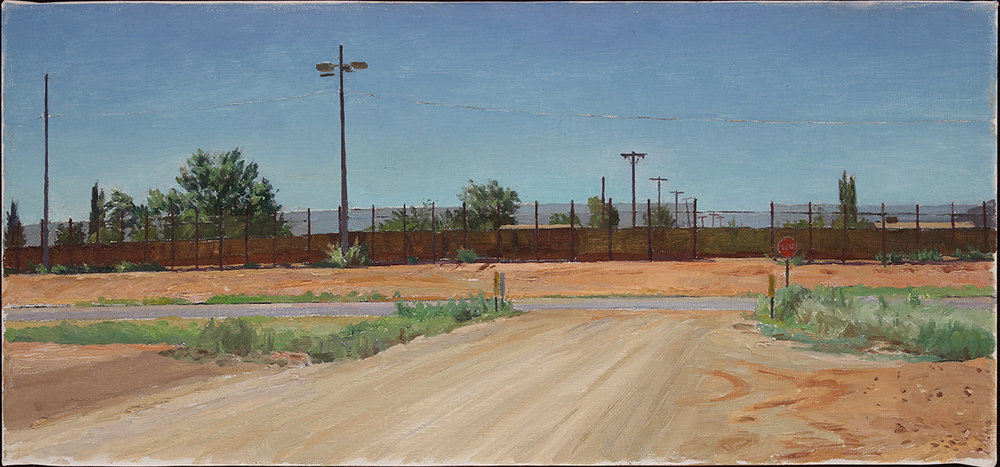 "BORDER IN SUMMER oil on linen 10 x 22"" 2016"