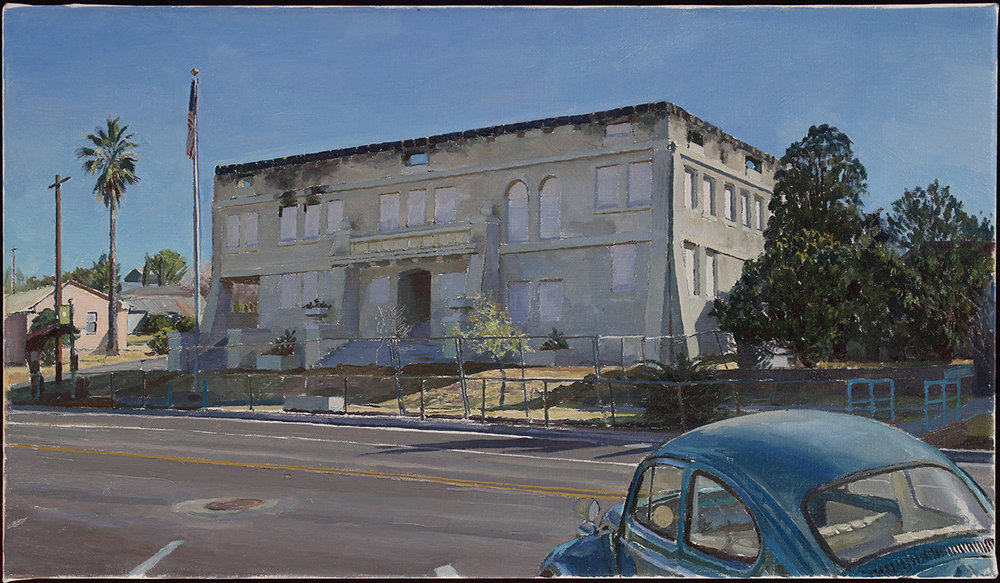 "BURNT CITY HALL oil on linen 14 x 24"" 2018"
