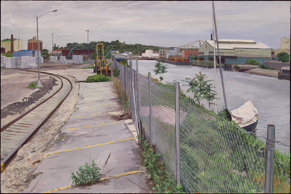 "FENCED WATERFRONT oil on panel 18 x 28"" 2017"
