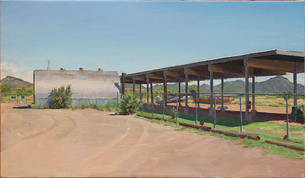 "DESERT AIRPORT oil on linen 14 x 24 "" 2018"