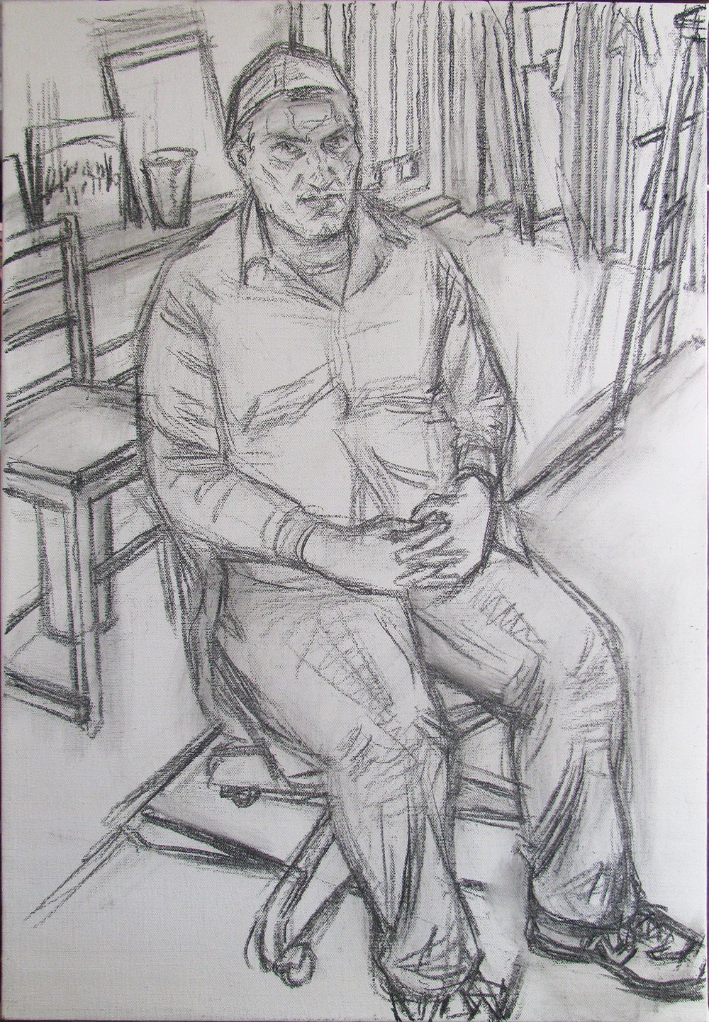 "JOE BRADLEY (drawing) charcoal on linen 22 x 33"" 2015"