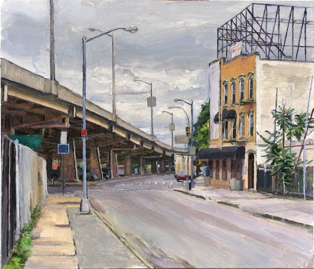 "X-24: GREENPOINT AVE. at 39THST., QUEENS oil on panel 14 x 16"" 2009 (sold)"