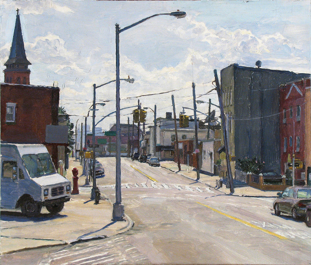 "X-24: GREENPOINT AVE. at 39THST., QUEENS oil on panel 14 x 16"" 2009"