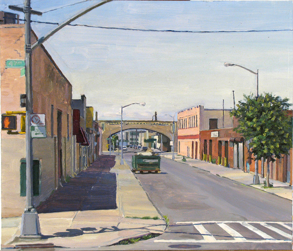 "W-21: 39thST. and 47THRD. oil on panel 14 x 16"" 2009"