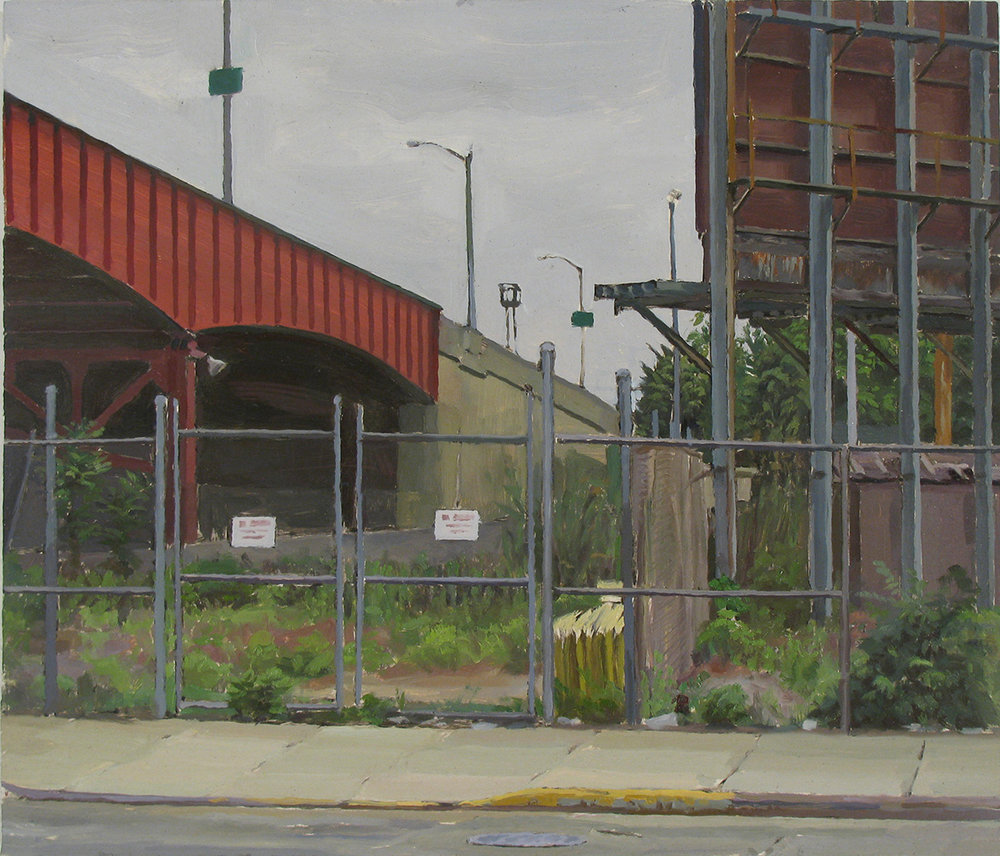 "H-22: BORDEN AVE. at PULASKI BRIDGE, QUEENS oil on panel 14 x 16"" 2010 (sold)"