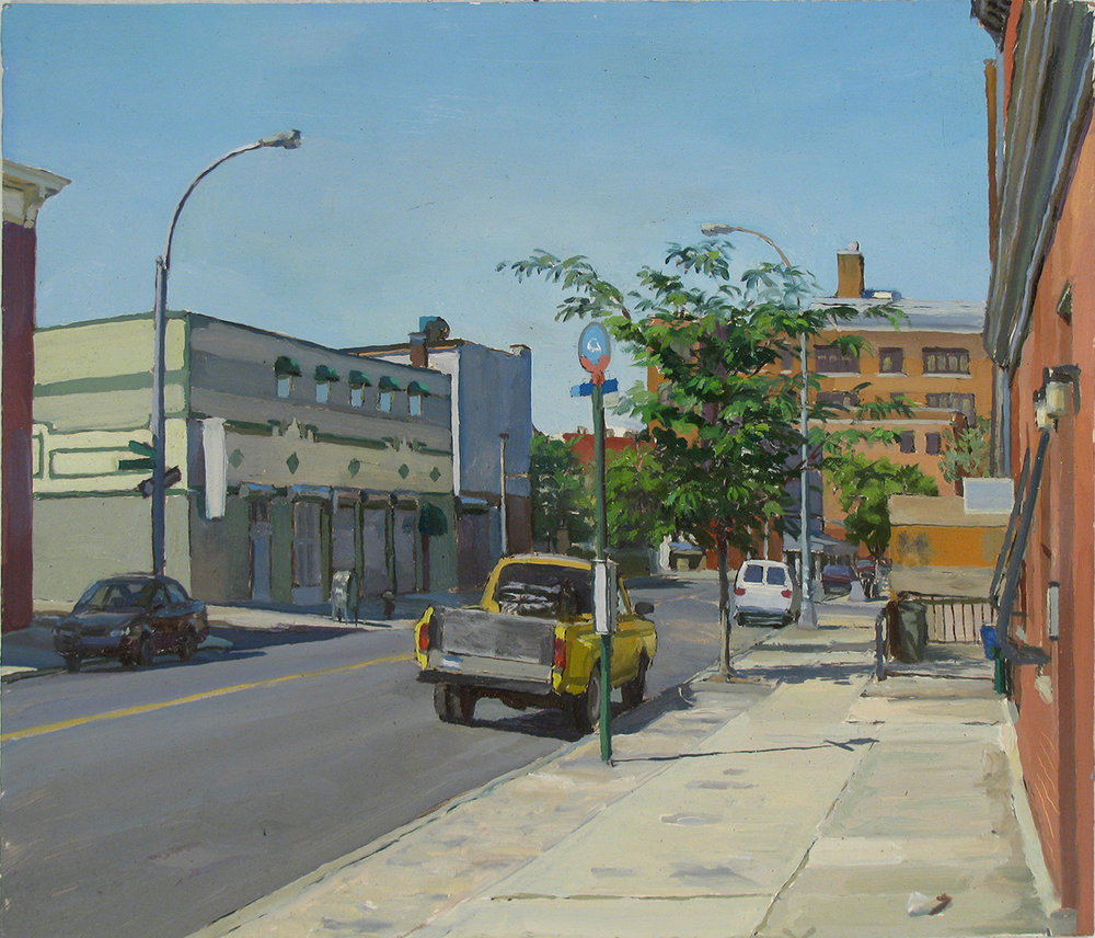 "C-45: GRAND AVE. and ROEBLING ST., BROOKLYN oil on panel 14 x 16"" 2010"