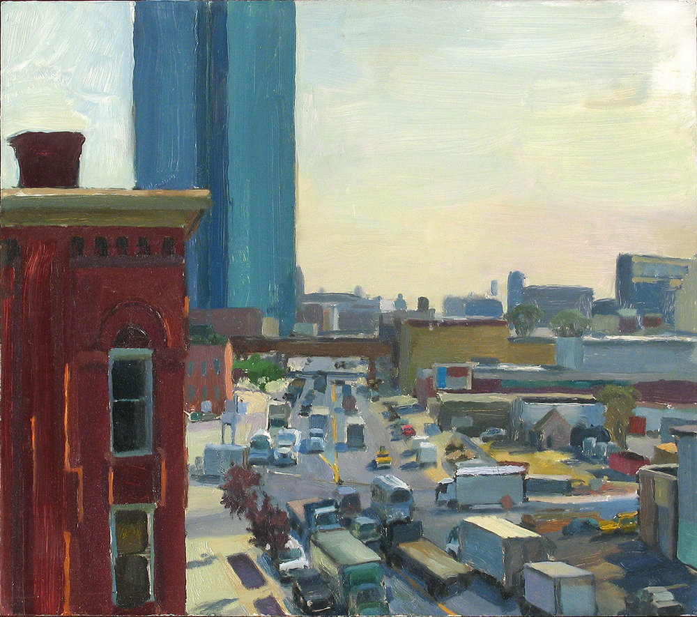 "MORNING TRAFFIC oil on panel 14 x 16"" 2001 (sold)"