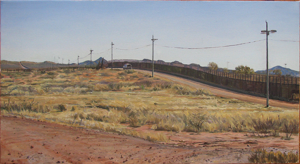 "BORDER FENCE oil on linen 22 x 33"" 2013 (sold)"