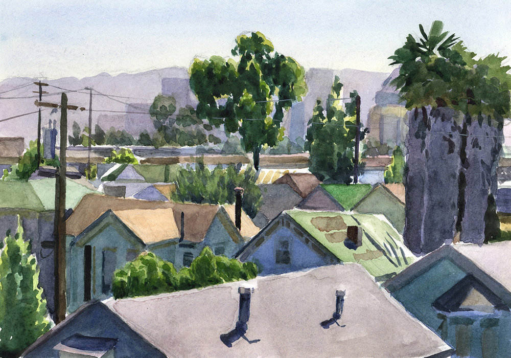 "OAKLAND watercolor 9 x 12"" 2004"