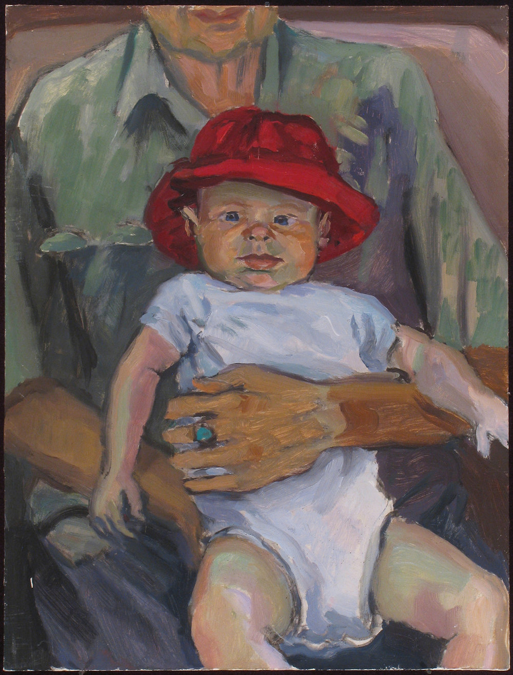 "ADRIAN WITH RED HAT oil on panel 12 x 9"" 2006"