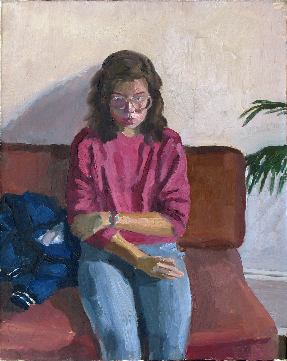 "TEENAGE GIRL oil on canvas 15 x 12"" 1988"