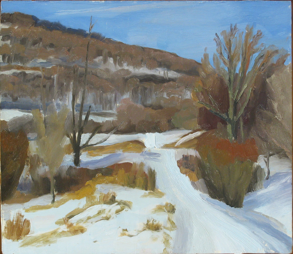 "SNOWED ROAD oil on panel 14 x 16"" 2003 (sold)"
