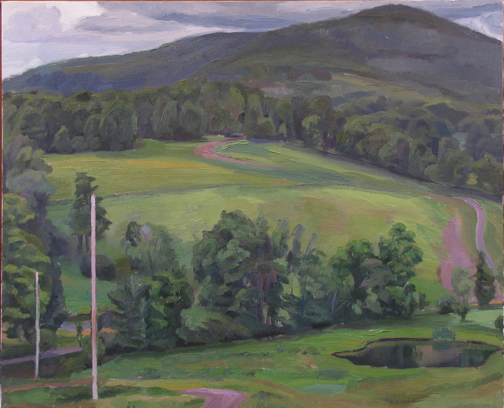 "POND AND POLE oil on linen 18 x 22"" 1998"