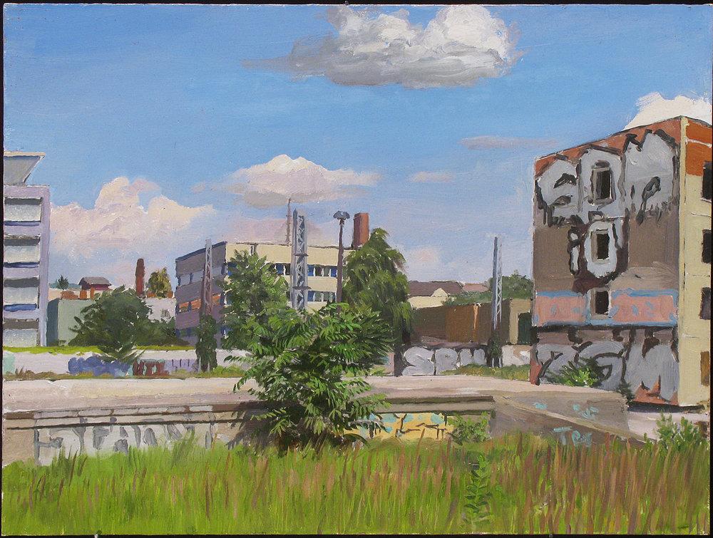 "BERLIN: RIECHSBAHN oil on panel 12 x16"" 2013"