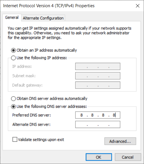 Figure 13. Add in an IP address of a server, I added in one from Google.