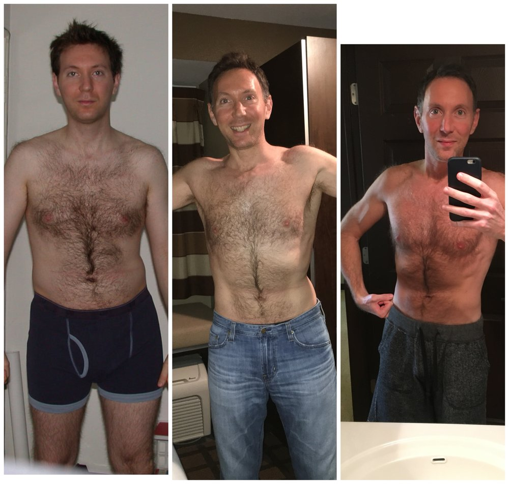 Photos of Scott Rose, before and after the keto lifestyle. Photo #1: Vegetarian diet. Photo #2: Partial keto lifestyle. Photo #3: Full keto lifestyle.