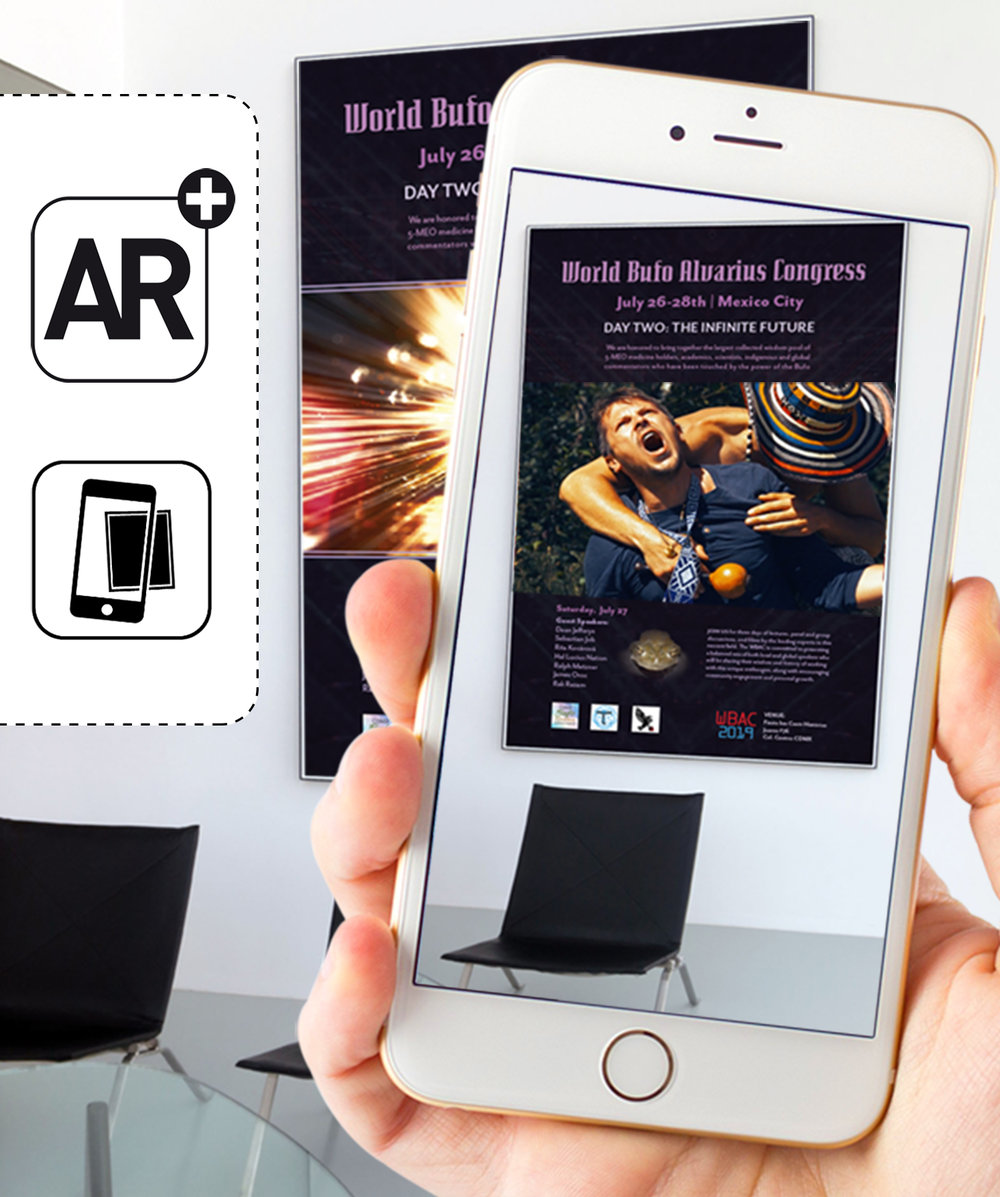 Augmented Reality - This poster design incorporates AR that is accessible through an APP. The main poster image transforms into a film trailer when viewed on supported devices.Film: Bufo Alvarius: The Underground SecretFilmmaker: Filip Zaruba