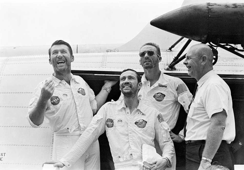 The Apollo 7 Crew returns on Oct. 22, 1968. Left to right commander Walter Schirra, command module pilot Donn Eisele, and lunar module pilot Walter Cunningham. Photo Credit: NASA.